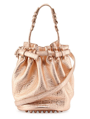 Alexander Wang Diego Dumbo Metallic Bucket Bag, Rose Gold 2014-07-26 13-41-23